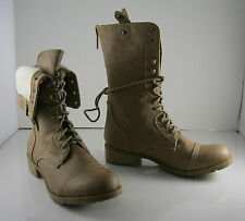 NEW Skintone Lace Rugged Military Combat Winter Sexy Mid-Calf Boots Size 5.5
