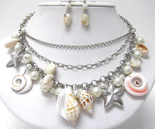 NEW NATURAL SHELL PEARL & STARFISH SEA LIFE MULTI CHARM NECKLACE & EARRINGS SET