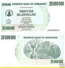 ZIMBABWE $25 Million Dollars Banknote World Money Currency Africa Note Bill 2008
