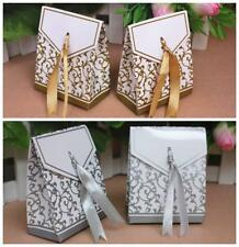 NEW GOLD & SILVER  Wedding Favour Gift Candy Boxes Decoration with Ribbon #01