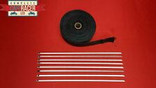 CAFE RACER 15M BLACK EXHAUST WRAP WITH 8 STAINLESS STEEL TIES