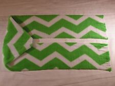 Green White Zig Zag Chevron Fleece Scarf