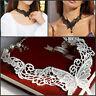 Gothic Black White Lace Retro Choker Collar Flower Pendant Necklace Jewelry