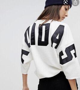 Adidas Originals Womens Sz S Melange Sweatshirt Logo Spell out On Back BR5180