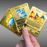 Metal Pokemon Cards Gold 1st Ed Base Set Charizard Blastoise Venusaur Shadowless