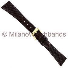 Brown Unstitched Watch Band 264 180 18mm Speidel Lizard Grain Genuine Leather