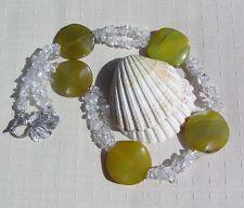 "Clear Quartz & Agate Crystal Gemstone Chunky Statement Necklace ""Lichen Dew"""