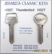 Rare Pair Thunderbird NOS Large Head Nickel Keys 1965 1966 1967 T Bird