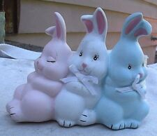 Vintage Pastel Rabbit Trio Figurine porcelain 1980s pink white blue hand painted