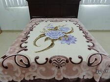 Solaron Blanket throw Thick Mink Plush queen size Roses Flowers beige/brown new