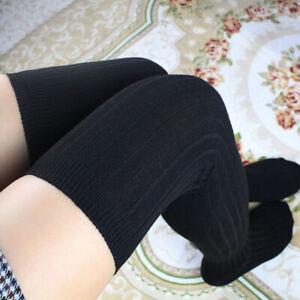 Black Girls Winter Thigh High Over The Knee Knitted Thick Long Socks Plain Leg