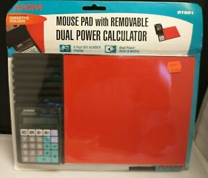 """Vintage Aurora Mouse Pad with Solar Calculator & 7 Diskette 3.5"""" Holder - NEW"""