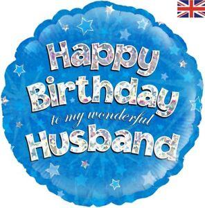 "Oaktree 18"" Foil Balloon Happy Birthday Husband Holographic"