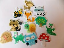 12 PRECUT edible wafer/rice paper Woodland Animals cake/cupcake toppers