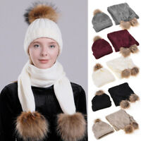 Winter Women Wooly Knitted Pom Pom Hat And Scarf Set Casual Warm Beanie Ski Cap