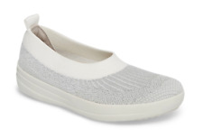Womens Shoes Fitflop UBERKNIT Slip On Stretch Flats J81-567 SILVER / WHITE