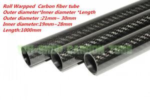 1-10pcs OD21 22 23 24 25 26 27 28 29 30mm 3K Carbon Fiber Rolled Tube/Pipe x1m