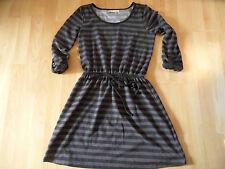 DEREK HEART schönes gestreiftes Jerseykleid schwarz taupe Gr. M NEUw.  BI516