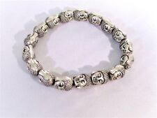 Silver Buddha Head Beaded Stretch Fashion Bracelet Lucky Charm