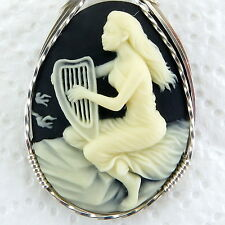 Harp Lady Cameo Pendant .925 Sterling Silver Jewelry Black Resin