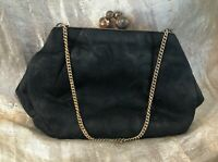 Antique Victorian Edwardian Purse Black Patterned Silk Gilt Mounts and Chain