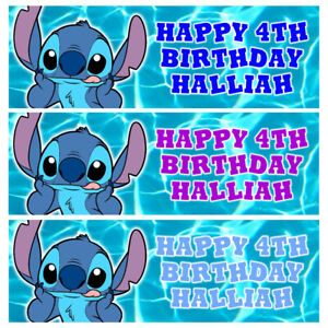 DISNEY STITCH Personalised Birthday Banner - Birthday Party Banner - 3 x 1 Ft