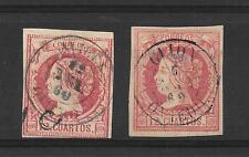 España. Isabel II. 2 sellos de 12 ctos con matasello de Fecha