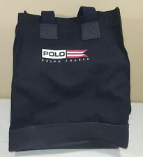 VTG Polo Sport Ralph Lauren Bag Spell Out Laptop Lunch Tote 90's Flag Bear