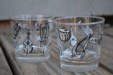 """VINTAGE LIBBEY """"MUSICAL INSTRUMENTS"""" COCKTAIL BAR GLASSES set of 2"""