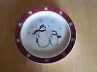 "Royal Seasons Stoneware SNOWMAN SNOWFLAKE Dinner Plate 10 1/4""      20 available"