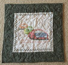 Handmade Cross Stitched Race Car Table Topper Quilt Blanket Crib Lap Blanket GUC