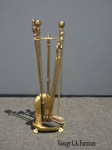 Vintage French Country Gold Fireplace Tools w Four Tools and base w Claw Feet