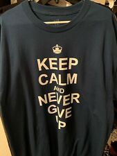 "WWE John Cena ""Never Give Up"" HLR T-Shirt Men's XL Blue Wrestling Champion NEW"