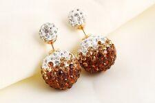 Fashion Women Shining Ball Crystal Rhinestone Double Sides Earring Ear Stud