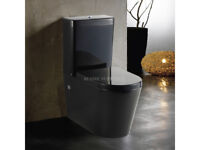 TOILET SUITE BLACK CERAMIC SOFT CLOSE SEAT BACK TO WALL WASHDOWN S or P TRAP