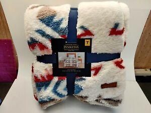 "Pendleton Sherpa Twin Size Soft Fleece 92"" x 66"" Blanket White Sands"