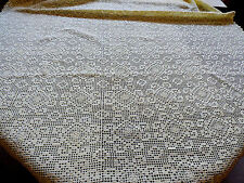 Vtg Handmade Crochet Yellow Cream Lace Tablecloth Lace Decor cotton