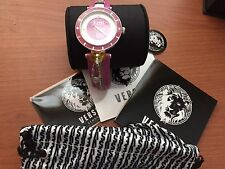 VERSUS by Versace Women's Key Biscayne Leather Strap Watch Pink Silver SCK030016
