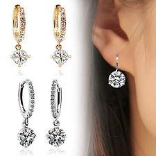 UP Women 18K White Gold Filled Crystal Rhinestone Hoop Earrings Wedding Jewelry