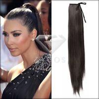 Femme Raide Queue de Cheval Cheveux Extension Naturel Noir 55x10 cm Long À clip