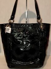 NWT! COACH ALEX STITCH PATENT LEATHER SV/BLACK TOTE 14265