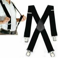 Mens Black Heavy Duty Suspenders Adjustable Clip On Work Braces Wide Solid Color