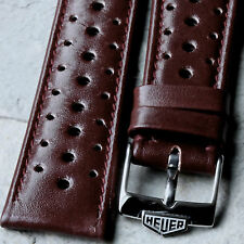 Oxblood 20mm vintage chronograph 1960/70s NOS rally band with steel Heuer buckle