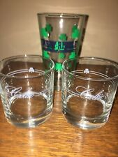 St. Patrick's Day Libbey Whisky Old Fashioned Glasses ~ Celtic Script