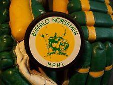 VINTAGE BUFFALO NORSEMEN PUCK NAHL  SABRES BISONS NORTH AMERICAN HOCKEY LEAGUE