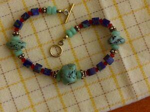 "Natural Raw Genuine Gemstone Lapis Lazuli Turquoise Chrysoprase Bracelet 7"" Gift"