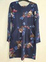 R130 WOMANS JOULES BLUE FLORAL LONG SLEEVE CASUAL ABOVE KNEE LENGTH DRESS UK 12