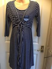 Jo Jo Maman Bebe Maternity & Nursing tie Dress Size Small 8 10 Breton stripe