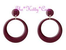 Large Round Gold Drop Hoop Bright Enamel Kitsch Retro Earrings - 6 Pop Colours