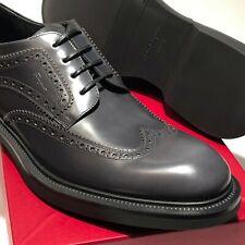 Ferragamo Wingtip Brogues 10 D 43 Mens Black Dress Oxford Shoes Formal Dark Gray